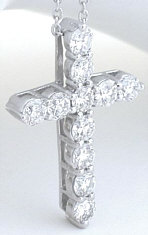 2 carat Shared Prong Round Diamond Cross Pendant in 14k white gold