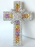Over 2 carat Princess Cut  Multicolor Sapphire & Diamond Cross Pendant in 14kw gold