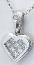 Invisibly set Princess Cut Diamond Heart Pendant in 18k white gold
