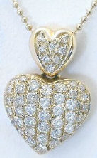 Pave Diamond Heart Pendant in 14k yellow gold