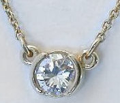 1/4 carat Semi Bezel Set Diamond Solitaire Pendant in 14k yellow gold