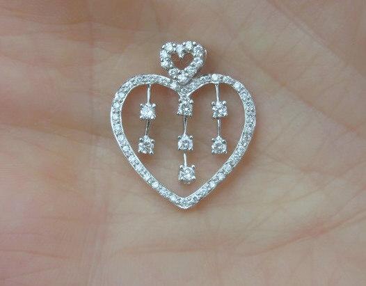 0 30 Ctw Diamond Heart Pendant In 14k White Gold Dp 1130