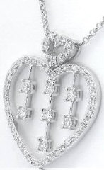 Diamond Heart Pendant in 18k white gold