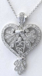 Antique Styled Diamond Heart Pendant in 14k white gold