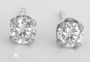 carat Real Diamond Stud Earrings in solid 14k white gold on sale