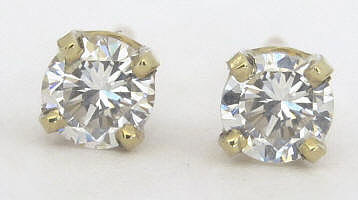 carat Real Diamond Stud Earrings in solid 14k yellow gold