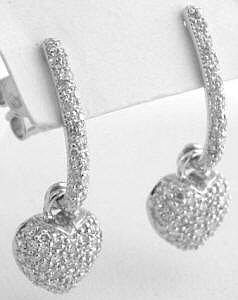 0.40 ctw Pave Diamond Heart Earrings in 14k white gold