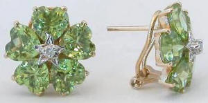 13 carat Peridot Flower Earrings with diamond accents in 14k yellow gold