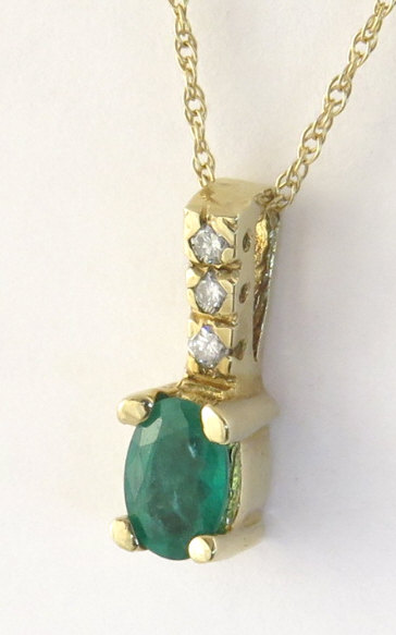 Yellow Gold Natural Emerald Pendant with Diamond Bail