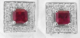 1.10 ctw Princess Ruby and Diamond Halo Earrings in 14k white gold