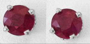 1.84 carat Round Ruby Solitaire Earrings in 14k white gold