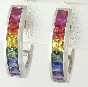 3 ctw Princess Cut Rainbow Sapphire Hoop Earrings in 14k white gold