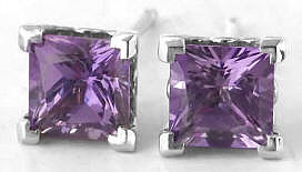 Purple Sapphire Earrings Princess Solitaire