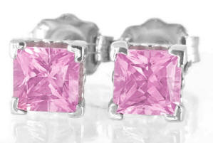 White Gold Pink Sapphire Earrings