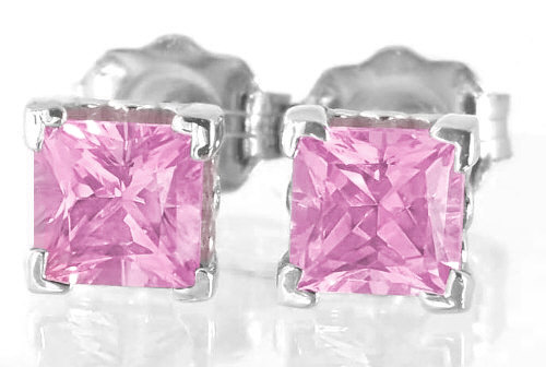 Princess Cut Pink Sapphire Stud Earrings in 14k white gold