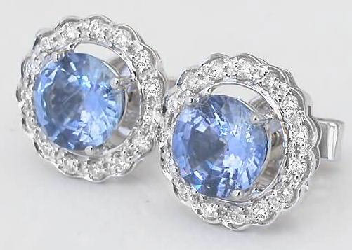 Ceylon Light Blue Sapphire and Diamond Earrings GE 5059