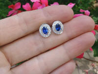 Oval Ceylon Sapphire Cornflower Blue Earrings with Diamonds in White Gold