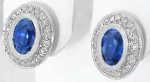 Bezel Set Natural Oval Ceylon Sapphire Diamond Earrings in 14k White GOld