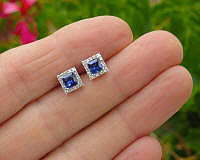 Real Sapphire Stud Earrings with Diamonds in 14k white gold. Woman's stud earrings