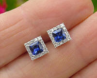 Princess Cut Natural Blue Sapphire Stud Earrings with Diamond Halo in 14k white gold