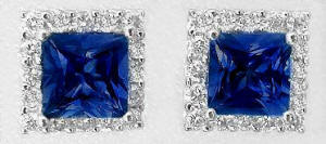 0.93 ctw Princess Cut Blue Sapphire and Diamond Earrings in white gold