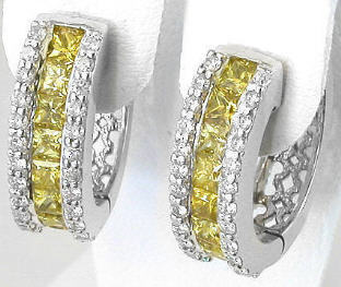 Princess Cut Yellow Sapphire and Diamond Earrings in 14k white gold