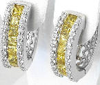 Channel Set Princess Cut Yellow Sapphire & Diamond Hoop Earrings in 14k whtie gold