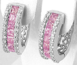 Princess Cut Pink Sapphire and Diamond Earrings in 14k white gold