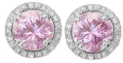 Light Pink Sapphire and Diamond Earrings in 14k white gold