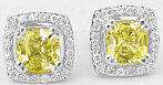 Cushion Cut Yellow Sapphire & Diamond Earrings in 14k white gold