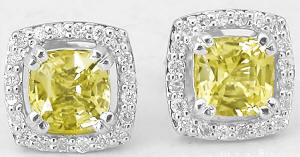 Cushion Cut Yellow Sapphire and Diamond Earrings in 14k white gold