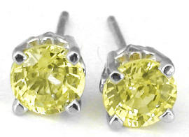 Round Yellow Sapphire Solitaire Earrings in 14k