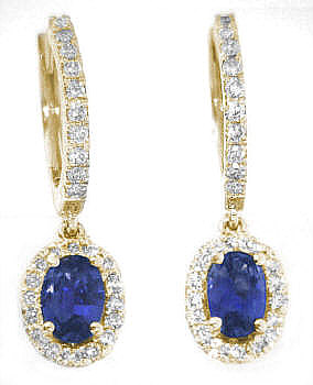 1.50 ctw Blue Sapphire and Diamond Dangle Earrings in 14k yellow gold