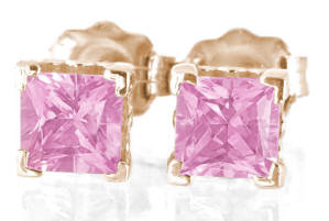 Pink Sapphire Earrings Rose Gold