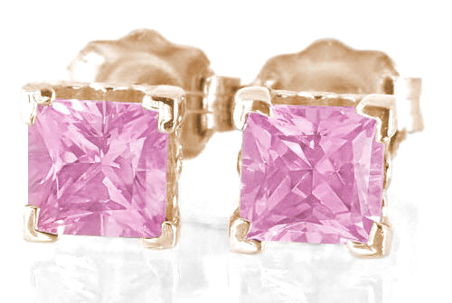 51cb006413f Rose Gold Pink Sapphire Earrings - 4mm - Stud Solitaire Pink ...