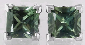 Green Sapphire Earrings Stud Solitaire