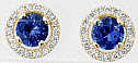 Genuine Round Sapphire Earrings with Diamond Halo in Yellow Gold