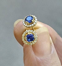 Genuine Blue Sapphire Yellow Gold Earring with Diamond Halo