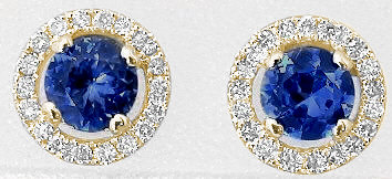 Natural Sapphire and Diamond Halo Earrings in 14k yellow gold