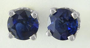 Natural Round Sapphire Solitaire Earrings in 14k white gold