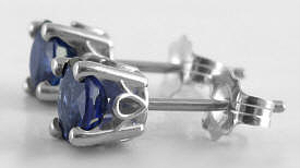 Real Round Sapphire Solitaire Earrings in 14k white gold