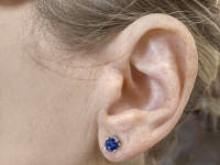 Genuine Round Sapphire Earrings in 14k white gold