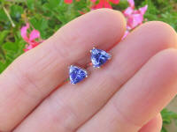 Natural Trillion Tanzanite Stud Earrings in 14k white gold for sale