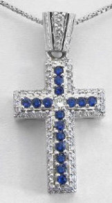 2 carat Sapphire & Diamond Cross Pendant in 14k white gold