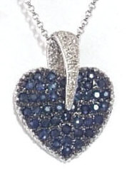Pave Sapphire Heart Pendant with Black Rhodium and Diamonds in 14k white gold