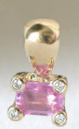 Natural Emerald Cut Pink Sapphire and Diamond Pendant in 14k yellow gold