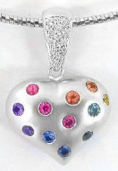 Rainbow Sapphire and Diamond Puffed Heart Pendant in 14k white gold