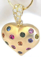 Rainbow Sapphire and Diamond Puffed Heart Pendant in 14k yellow gold