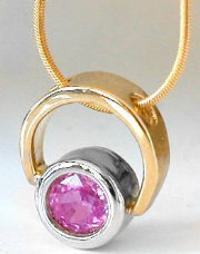 Natural Bezel Pink Sapphire Pendant in 14k yellow gold