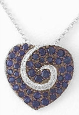 Blue Sapphire Heart Pendant with Black Rhodium in 14k white gold